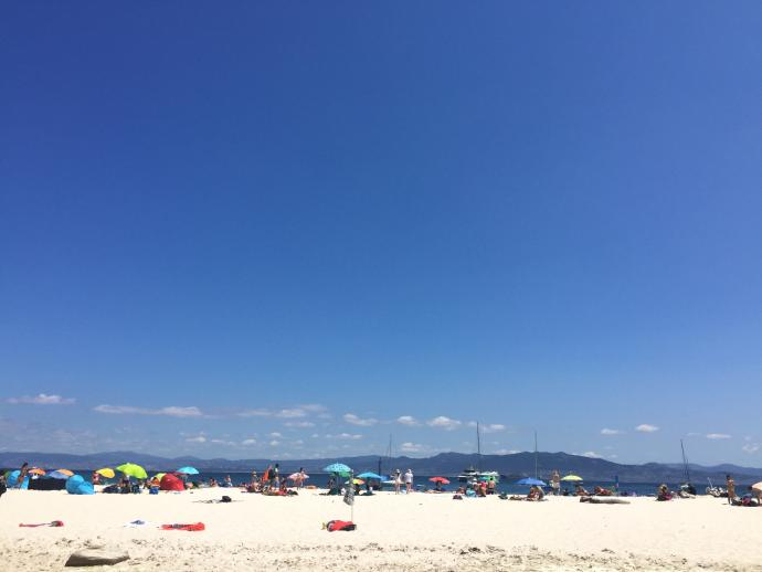 People on a beach in Galicia, blue sky and sand