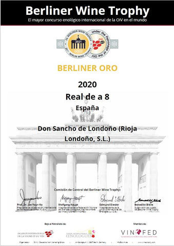 Gold medal certificate from the Berlin Wine Trophy competition