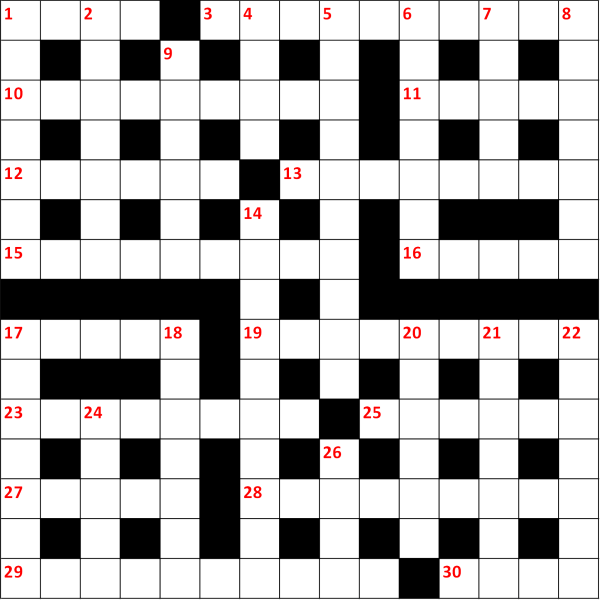 Grid for Bubble Brothers Christmas crossword competition 2018