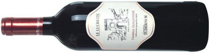 Bottle of 'Le Lucrezie' Sangiovese red wine from Cantina Tudernum in Umbria, Italy on the menu at Liss Ard at A Taste of West Cork