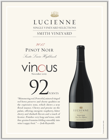 Review by Josh Raynolds, Vinous of Hahn Lucienne Pinot Noir from Smith Vineyard