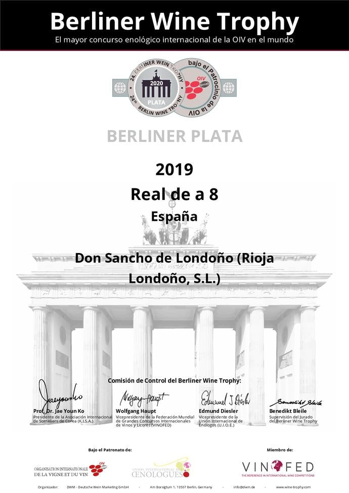 Silver medal certificate from Berliner Wine Trophy 2020 competition