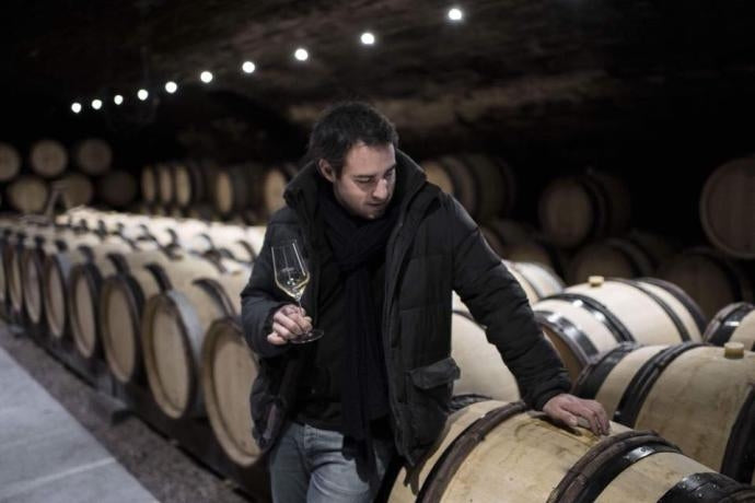 Winemaker Romaric Chavy in the cellars at Domaine Chavy-Chouet in Burgundy
