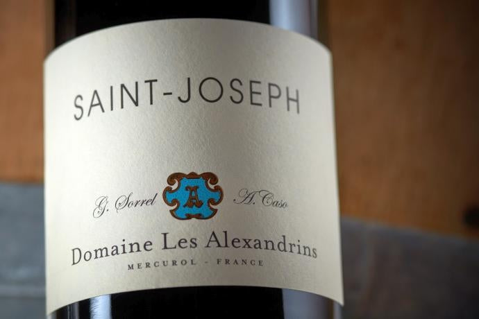 Close-up of bottle of Saint-Joseph wine from Domaine les Alexandrins