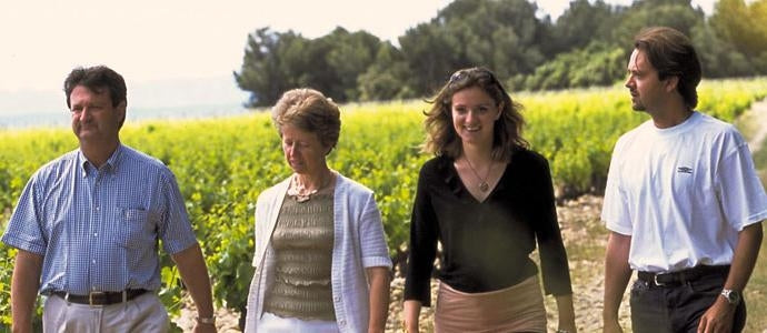Winemakers the Quiot family among the vines on their Provençal estate