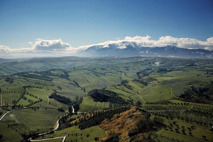 Abruzzo landscape seen from the air