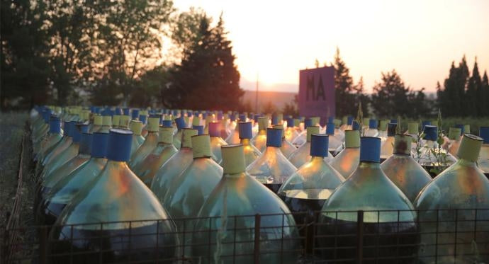 Glass demijohns at Mas Amiel wine estate in Maury, France