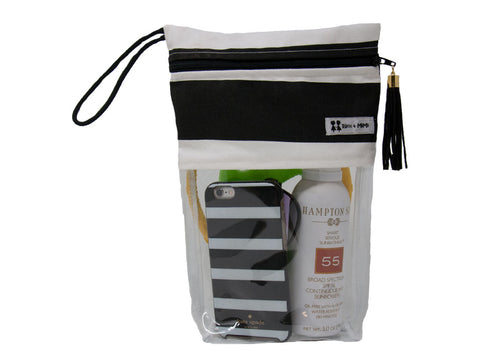 Black and White Striped Poolside Resort Bag- Clear Waterpoof bag for Pools, Beach, Travel, and More