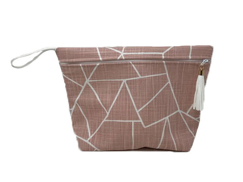 Blush Shattered Glass Vinyl Lined Makeup Bag or Wet Bag- BPA Free- Machine Washable