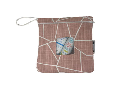 Blush Shattered Glass Reusable Snack Bag or Carrying Pouch- BPA Free- Machine Washable