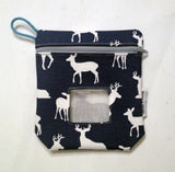 reusable snack bag in navy deer print