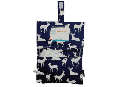 diaper clutch in navy deer