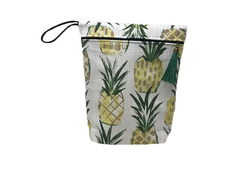 Pineapple Vinyl Lined Travel Shampoo Bag