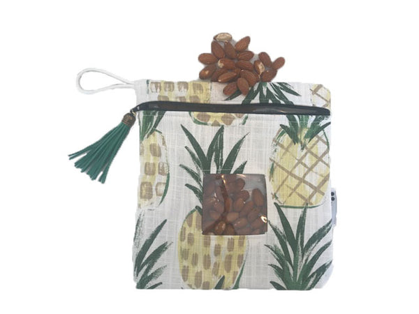 Reusable Snack Bag or Carrying Pouch in Pineapple- BPA Free- Machine Washable