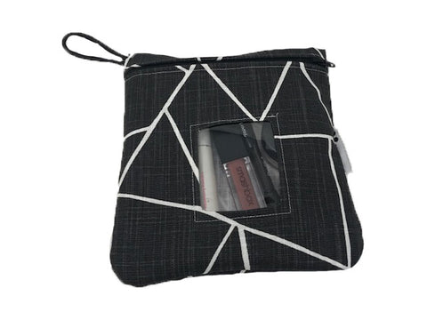 Black Shattered Glass Reusable Snack Bag or Carrying Pouch- BPA Free- Machine Washable- 2 Options Available