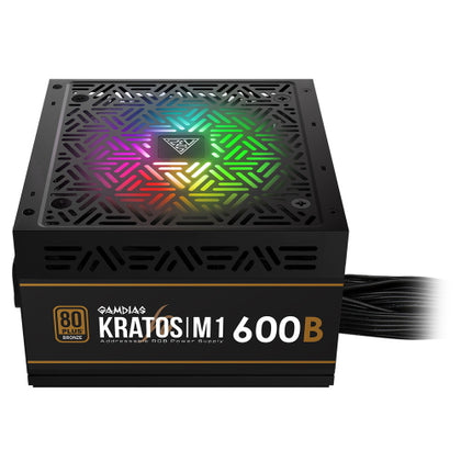 Gamdias Kratos M1 600W 80+ Bronze RGB Power Supply - Vektra PC