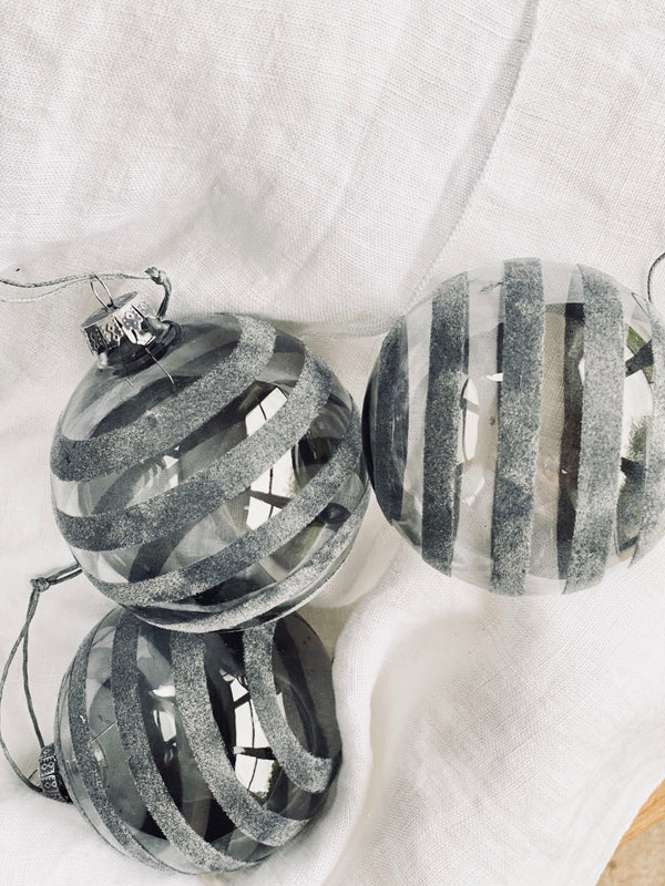 grey stripe glass bauble