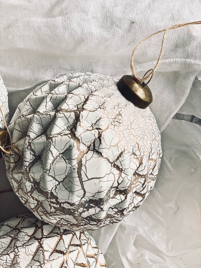 dull bronze crackle glass bauble