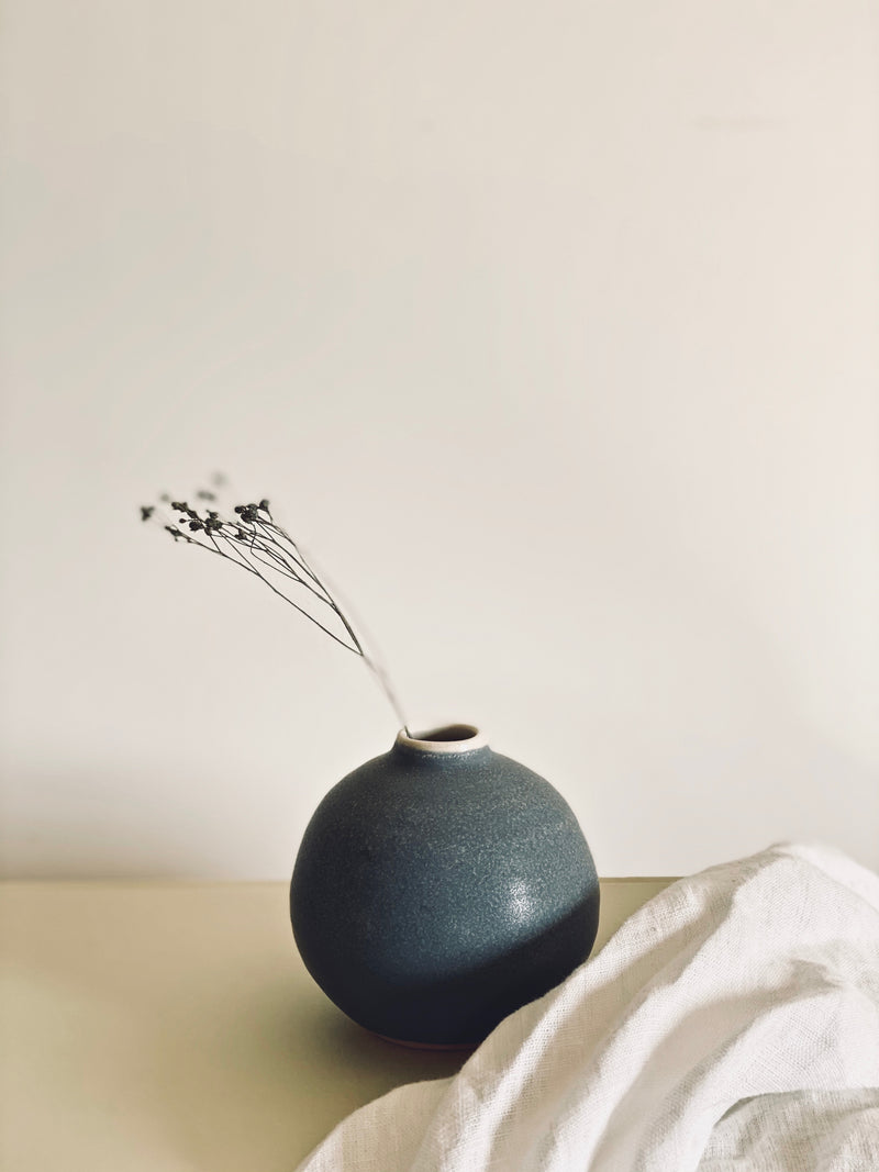 hand thrown steel grey bud vase