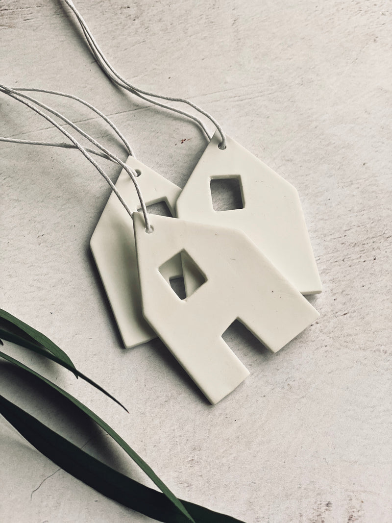 white ceramic house set