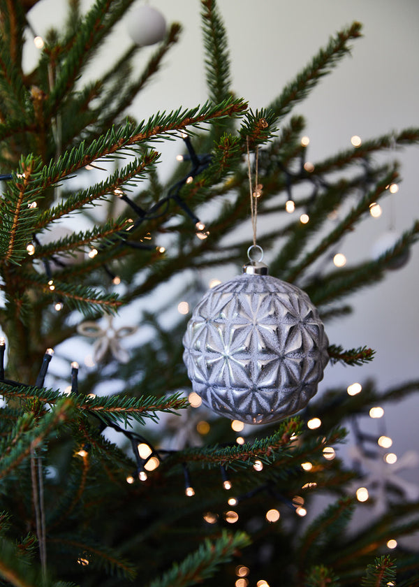 geometric snowflake glass bauble (set 5)