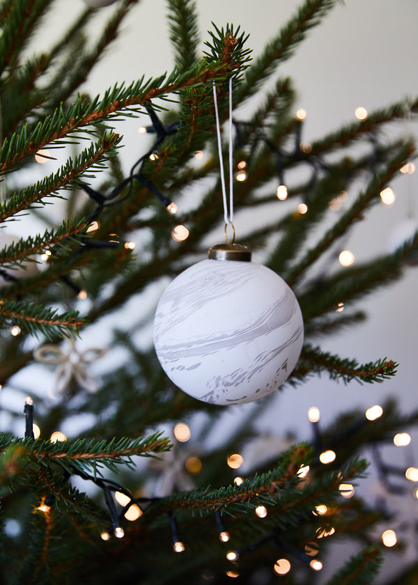 marble glass bauble (set of 5)