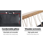 Wooden armrests hammock chair