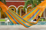 King sized cotton hammock in orange, three person hammock, extra large hammock australia