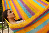 Three person hammock australia, cotton hammock australia, orange coloured hammock australia