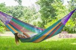 cotton hammock in rainbow colours, cotton hammock, australian hammocks