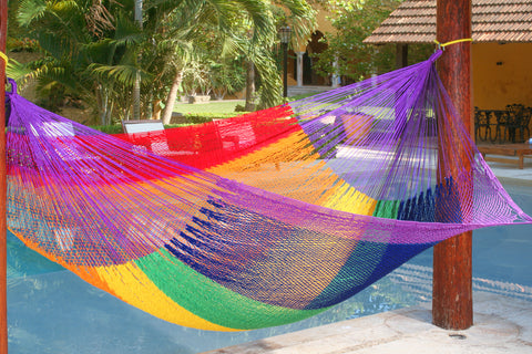 rainbow coloured hammock, outdoor hammock
