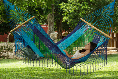 Woven hammock australia in green and blue colour