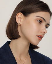 Load image into Gallery viewer, Gold Plated Overlap Hoop Earring with Silver Pin