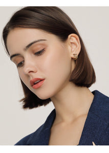 Gold Plated Overlap Hoop Earring with Silver Pin