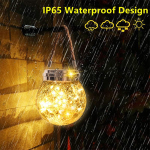 Solar Lantern Outdoor Hanging Solar Light  Waterproof Table Lamp Crack Glass Globe Garden Light for Patio Yard Party Wedding Christmas Decoration