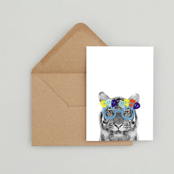 Tiger Blue Happy Birthday glasses Card-Stationary-Little Fish Co.