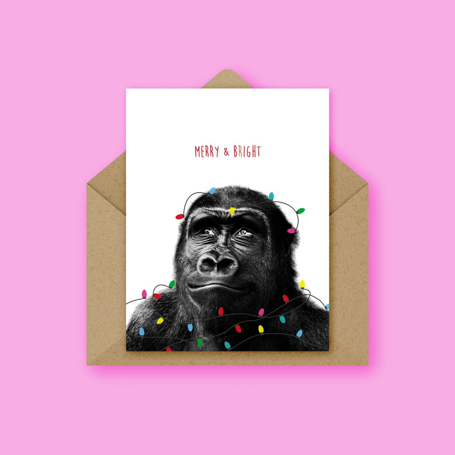 Gorilla Festive Lights Christmas Card-Stationary-Little Fish Co.