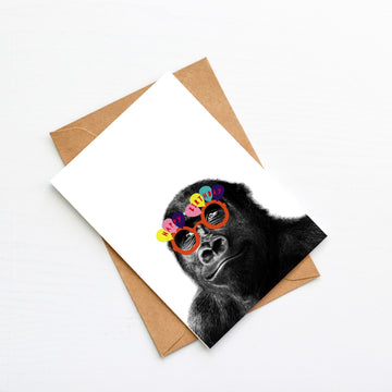 Gorilla Orange Happy Birthday glasses Card-Stationary-Little Fish Co.