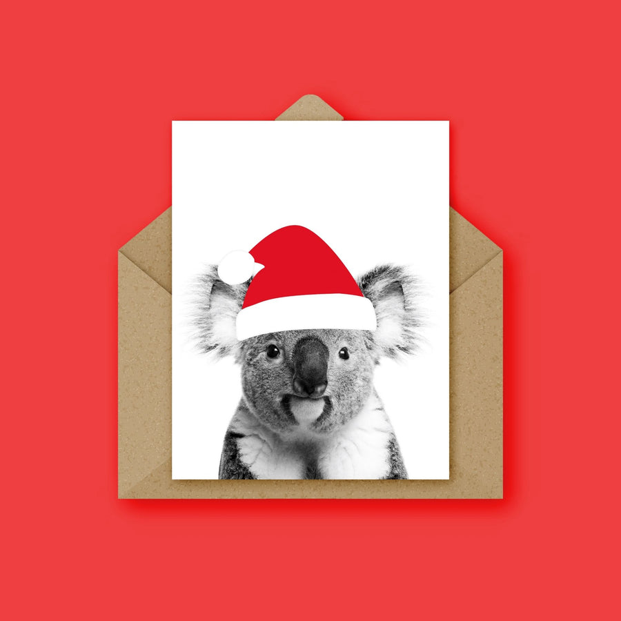Koala Santa Hat Christmas Card-Stationary-Little Fish Co.