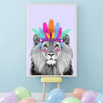 Chief Lion Lilac Happy Print-Art-Little Fish Co.