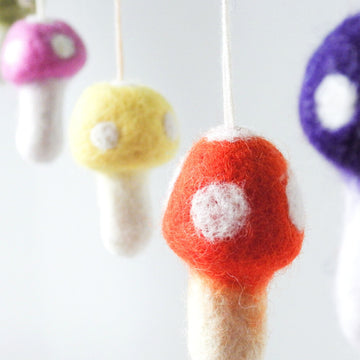 Toadstool Mushroom Coloured Felt Garland-Fun-Little Fish Co.