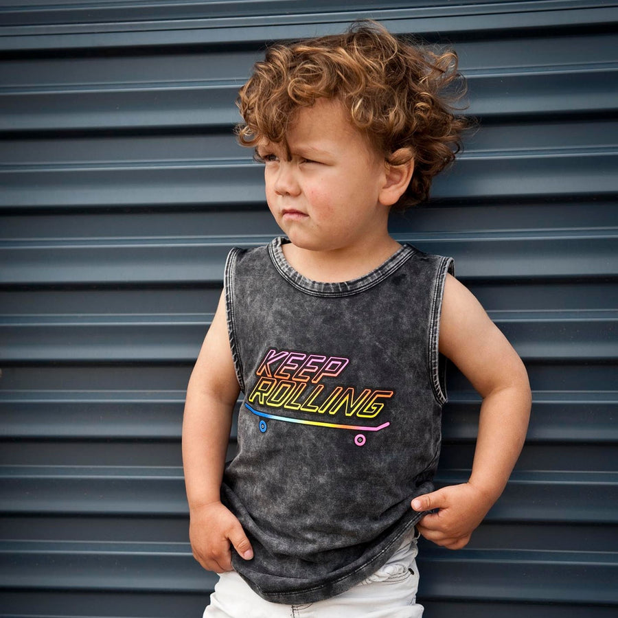 Stone Wash Muscle Tee Keep Rolling Tee-Fashion-Little Fish Co.
