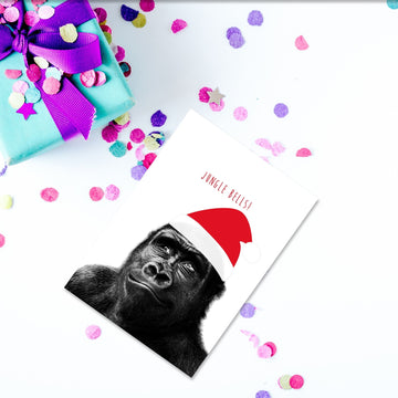 Gorilla Santa Hat Christmas Card-Stationary-Little Fish Co.