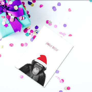 Chimp Santa Hat Christmas Card-Stationary-Little Fish Co.