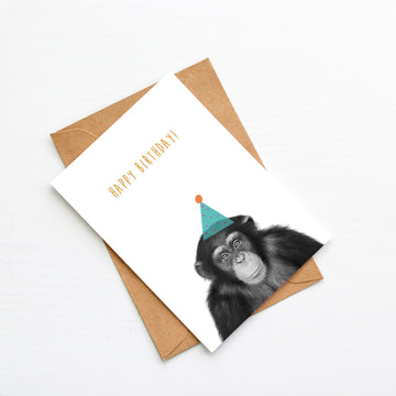 Chimp Green Birthday Hat Card-Stationary-Little Fish Co.