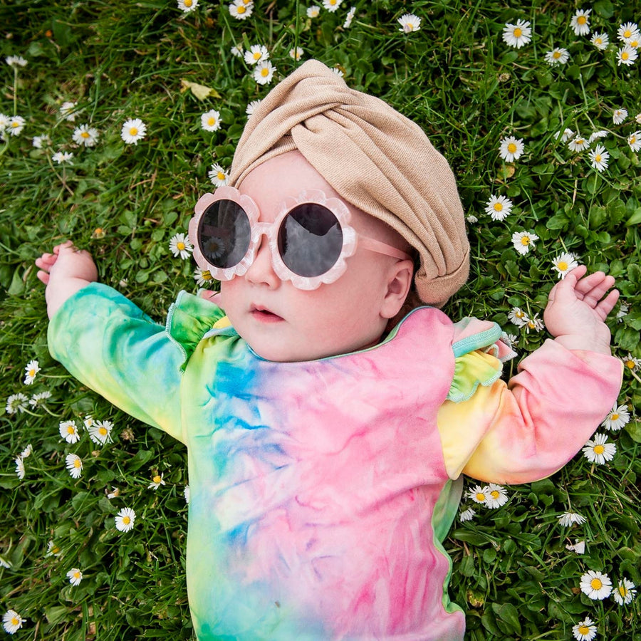 Pink Flutter Sleeve Tie Dye Romper-Fashion-Little Fish Co.