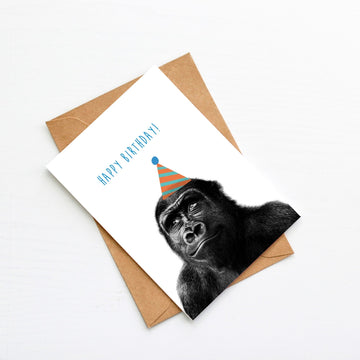 Gorilla Teal Birthday Hat Card-Stationary-Little Fish Co.