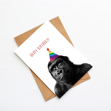 Gorilla Rainbow Birthday Hat Card-Stationary-Little Fish Co.