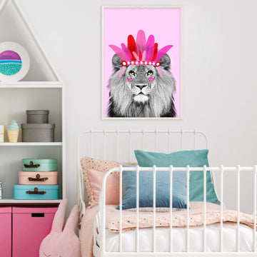 Chief Lion Pink Print-Art-Little Fish Co.