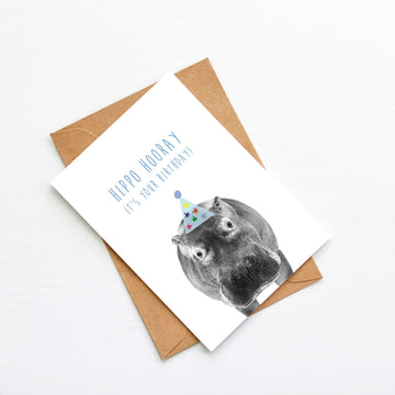 Hippo Blue Birthday Hat Card-Stationary-Little Fish Co.